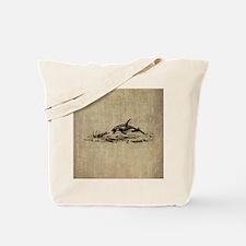 Vintage Killer Whale Tote Bag