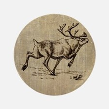 "Vintage Reindeer 3.5"" Button"