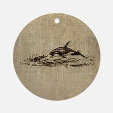 Vintage Killer Whale Round Ornament