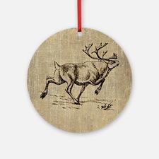 Vintage Reindeer Round Ornament