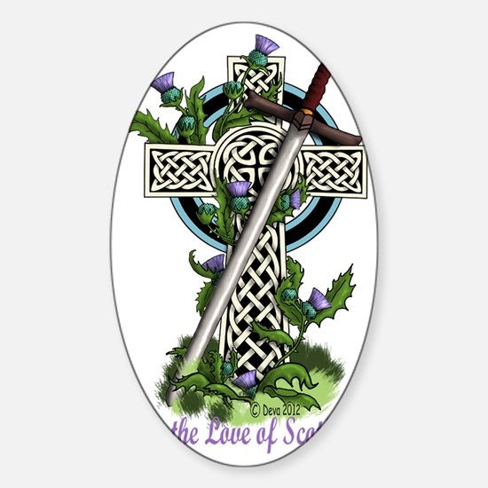 Claymore,Thistles and Cross Sticker (Oval)