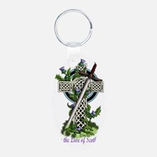 Claymore,Thistles and Cross Aluminum Oval Keychain