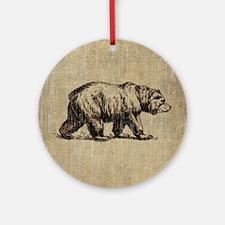 Vintage Bear Round Ornament