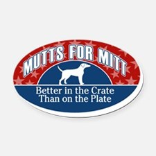 Mutts for Mitt Red BLue Oval Car Magnet