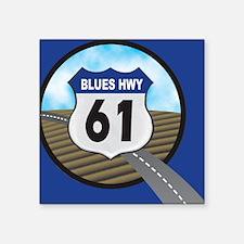 "Blues Hwy Postcard Square Sticker 3"" x 3"""