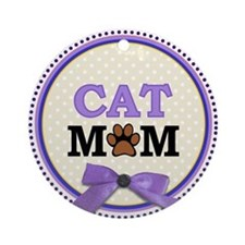 Cat Mom with faux ribbon Ornament (Round)