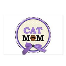 Cat Mom with faux ribbon Postcards (Package of 8)