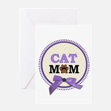Cat Mom with faux ribbon Greeting Cards