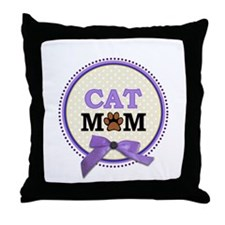 Cat Mom with faux ribbon Throw Pillow