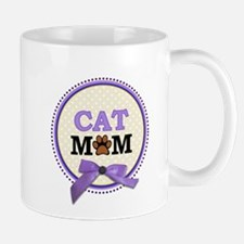 Cat Mom with faux ribbon Mugs