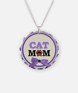 Cat Mom with faux ribbon Necklace