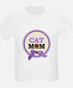 Cat Mom with faux ribbon T-Shirt