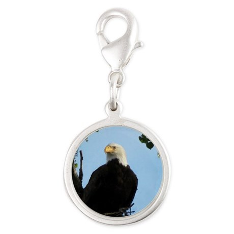 Bald Eagle with Sky Silver Round Charm