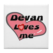 devan loves me  Tile Coaster