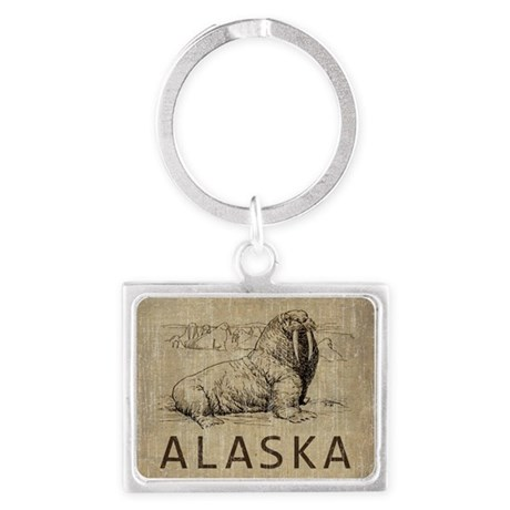 Vintage Alaska Landscape Keychain