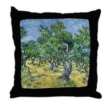 Van Gogh Olive Grove Throw Pillow