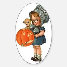 cute girl with pumpkin Sticker (Oval)
