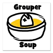 "GrouperSoupCartoonBowl Square Car Magnet 3"" x 3"""