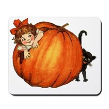 vintage girl with pumkin and cat Mousepad