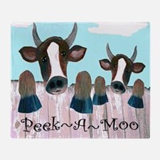 Peek A Moo Funny Cows Throw Blanket