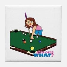 Girl Playing Billiards Tile Coaster