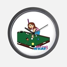 Girl Playing Billiards Wall Clock