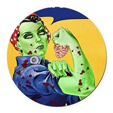 Zombie Rosie the Riveter - You Ca Round Car Magnet