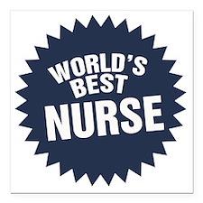 "Worlds Best Nurse Square Car Magnet 3"" x 3"""