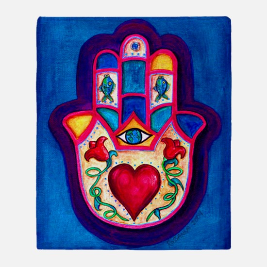 Heart Hamsa by Rossanna Nagli Throw Blanket