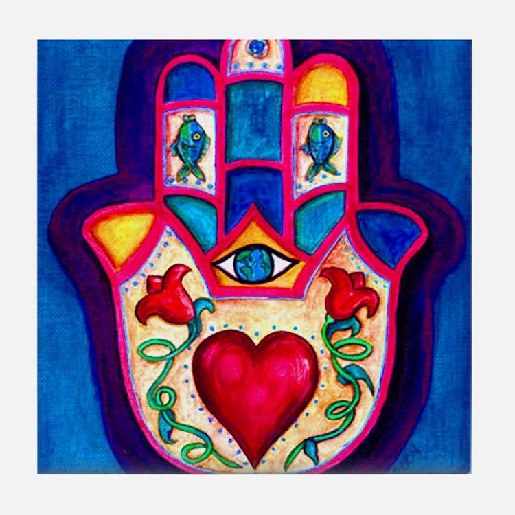 Heart Hamsa by Rossanna Nagli Tile Coaster