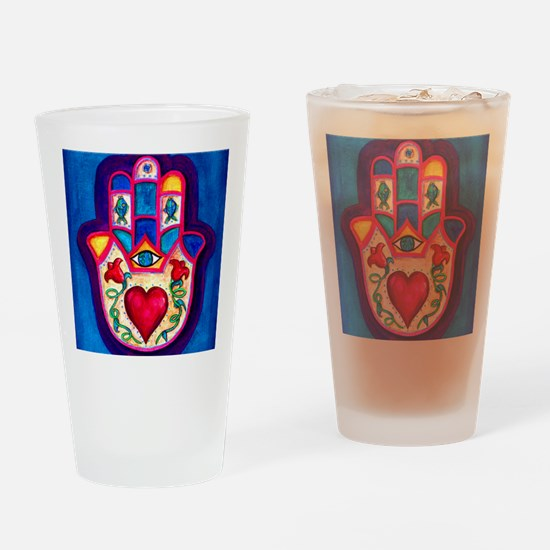 Heart Hamsa by Rossanna Nagli Drinking Glass