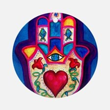 Heart Hamsa by Rossanna Nagli Round Ornament