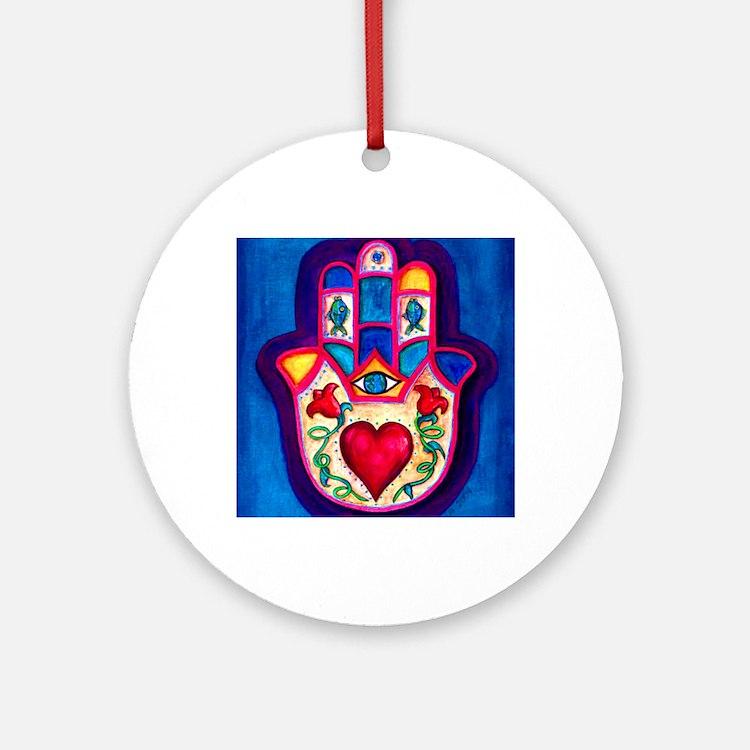 Heart Hamsa by Rossanna Nagli Round Ornament