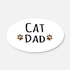 Cat Dad Oval Car Magnet