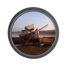 Old Rusty Boat derelict in Inverness, C Wall Clock