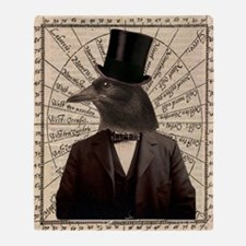 Victorian Steampunk Gentleman Crow Throw Blanket