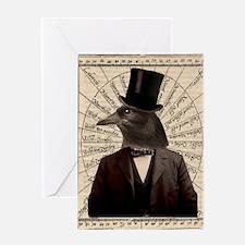 Victorian Steampunk Gentleman Crow Greeting Card