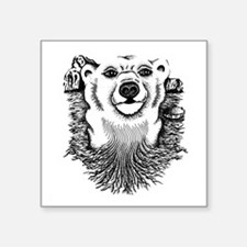 "Polar bear drawing Square Sticker 3"" x 3"""