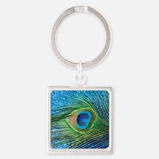 peacock blue shower curtain Square Keychain