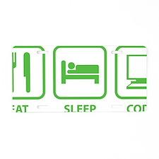 eatSleepCode1C Aluminum License Plate