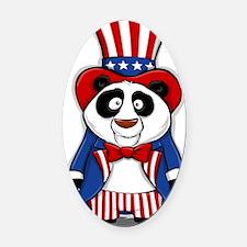 Patriotic Panda Oval Car Magnet