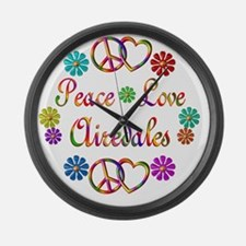 Peace Love Airedales Large Wall Clock
