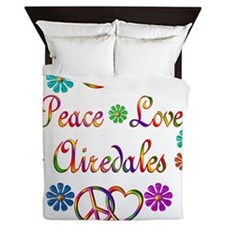 Peace Love Airedales Queen Duvet