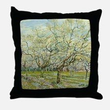 Van Gogh White Orchard Throw Pillow