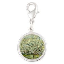 Van Gogh White Orchard Silver Round Charm