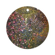 Gustav Klimt Italian Garden Round Ornament
