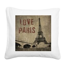 Vintage Love Paris Square Canvas Pillow