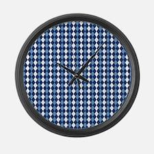 Carolina Blue Argyle Sock Pattern Large Wall Clock