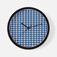 Carolina Blue Argyle Sock Pattern North Wall Clock