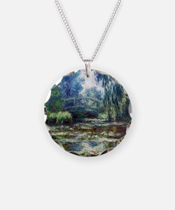 Monet Bridge Over Water Lily Necklace